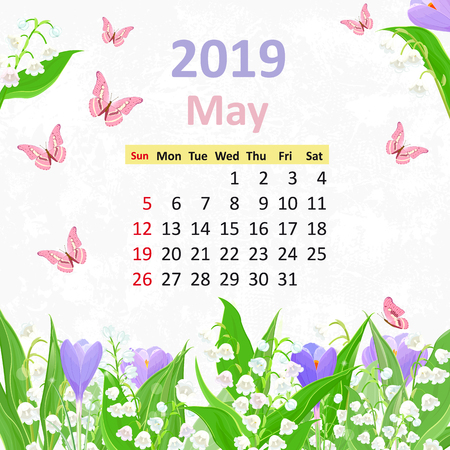 Lovely flowers. Calendar for 2019, may