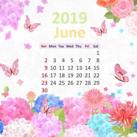 Lovely flowers. Calendar for 2019, june Illustration