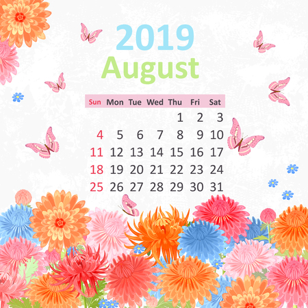Lovely flowers. Calendar for 2019, august
