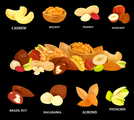 collection of colorful nuts on black background your design