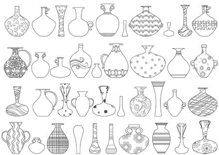 kolekcja wazonów z etnicznym ornamentem do kolorowania