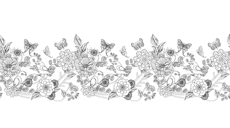 graceful seamless floral border for your coloring book