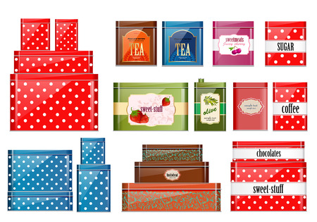 retro set of tin cans for dry products for your design
