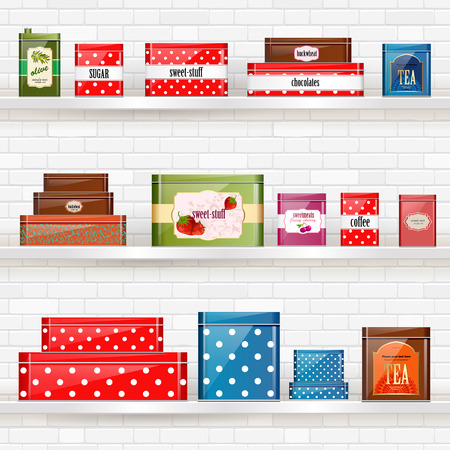 shelves with tin cans for dry products on white brick wall for your design