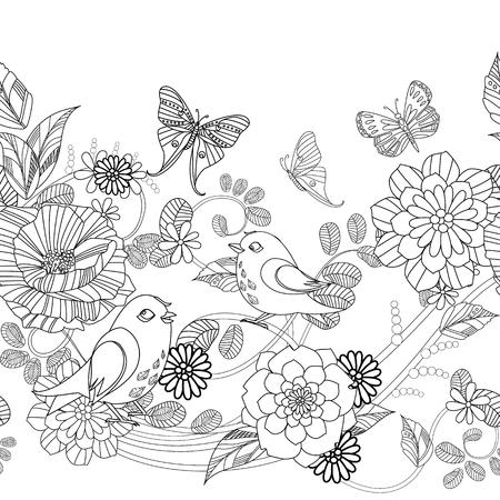 hübsche nahtlose Blumenbordüre mit Vögeln für dein Malbuch