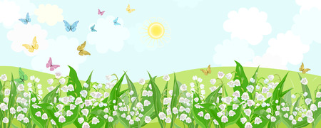 Rural fields with flowering lilies of the valley and flying butterflies. Stock Illustratie