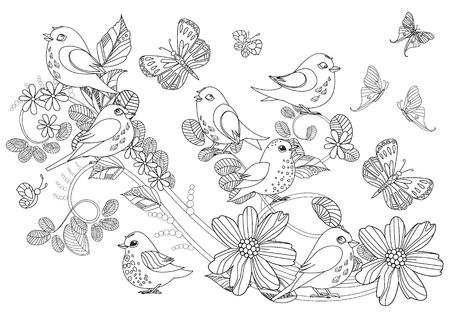 Elegante adorno con pájaros lindos en ramitas florales en forma de remolino y mariposas para tu libro para colorear