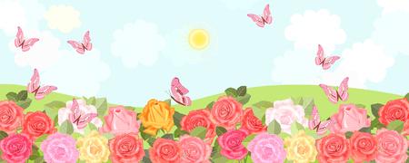 Champs ruraux avec des roses fleuries et des papillons volants. Vecteurs