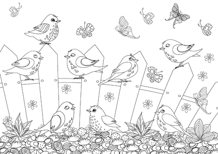 Rustic landscape with happy birds sitting on fence for your coloring book