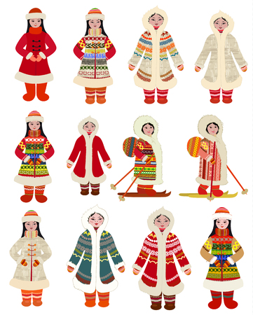 collection cartoon pictures of girls in traditional costume of northern peoples