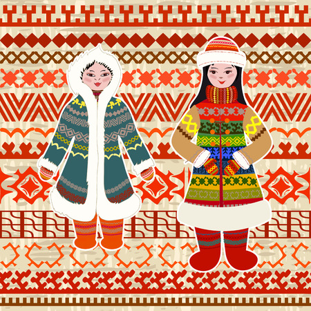 Cozy pattern with application of northern women in ethnic costumes for your design of pillow Vetores