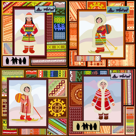 collection of ethnic pattern of the northern woman for your design