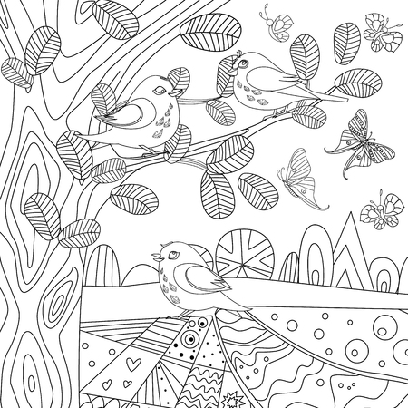Rustic landscape with trees and pretty birds for your coloring book