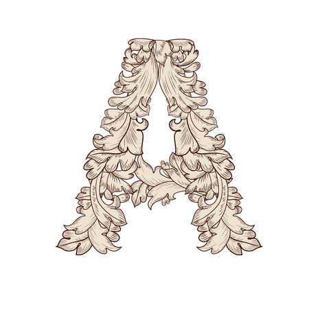 Letra mayúscula de follaje de lujo A