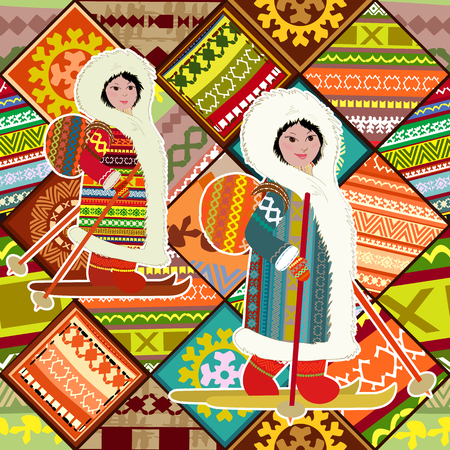 Colorful patchwork seamless pattern with application happy northern girls for your design of pillow