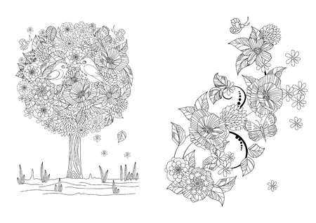 Collection of nature patterns for your coloring book