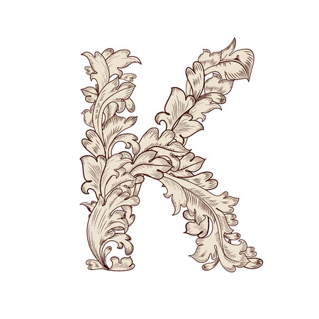 Fancy foliage uppercase letter K