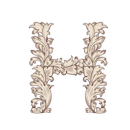 Feuillage fantaisie lettre majuscule H