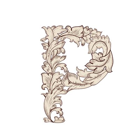 Feuillage fantaisie lettre majuscule P