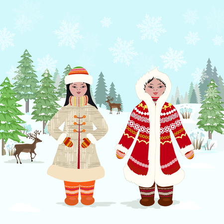 winter forest landscape with girls in traditional costume of northern peoples for your design