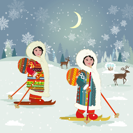 winter night landscape with skiing girls in traditional costume of northern peoples for your design
