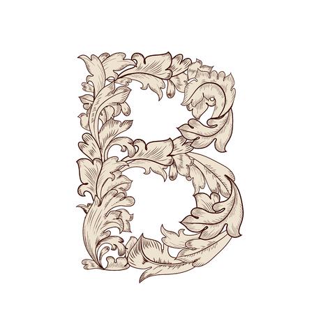 Fancy foliage uppercase letter B