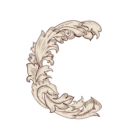 Feuillage fantaisie lettre majuscule C Vecteurs