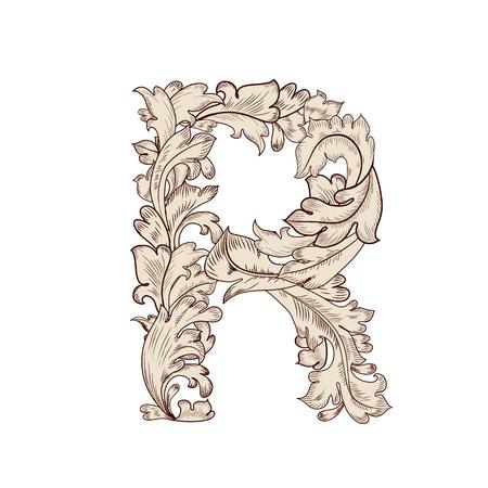 Feuillage fantaisie lettre majuscule R Vecteurs