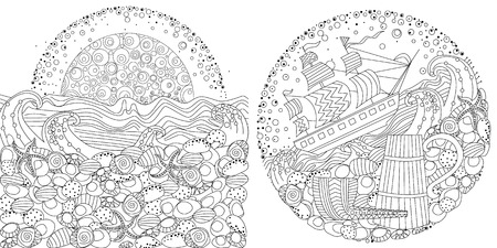 Collection of sea patterns for your coloring book