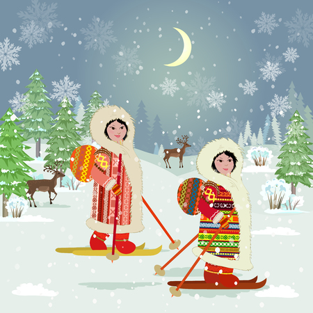 winter night forest landscape with skiing girls in traditional costume of northern peoples for your design