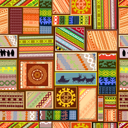 seamless texture with set of ethnic patterns of northern peoples