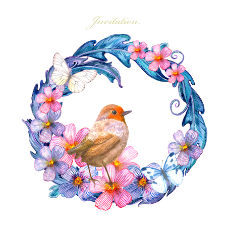 Colorful floral vignette with cute bird and butterflies.