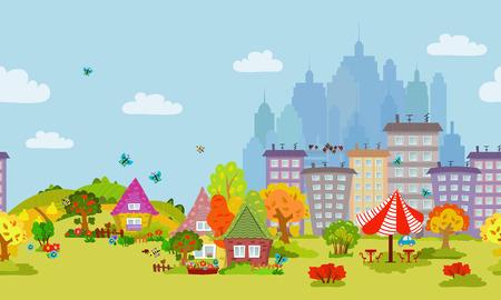 autumn seamless cityscape for your design Illustration