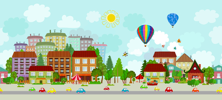 seamless border with sunny cityscape. panorama