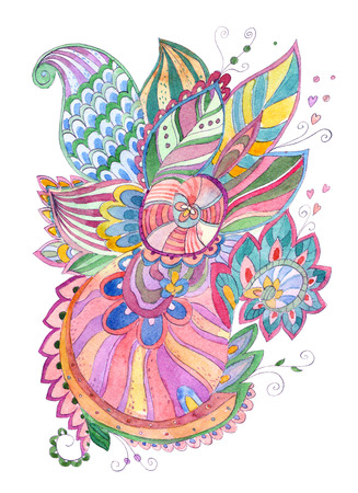 happy fanciful abstract pattern for your design. watercolor painting