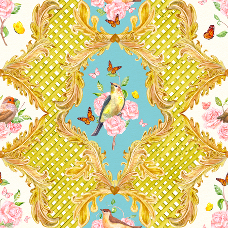 rich seamless texture with gold floral scroll filigree and birds. watercolor painting