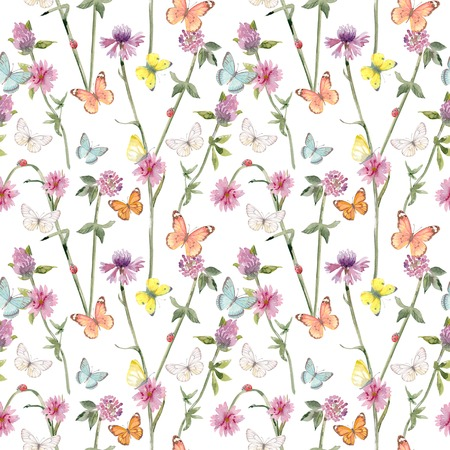 texture harmonieuse et gracieuse avec des coccinelles sur des fleurs de prairie et des papillons volants. peinture à l'aquarelle Banque d'images