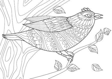 Fancy bird with berry in beak on tree for your coloring page Vettoriali