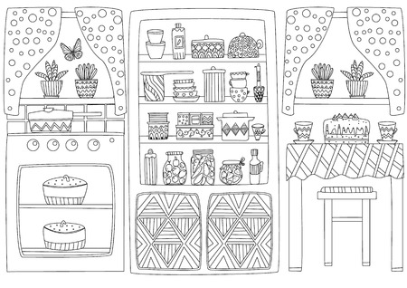 Cozy kitchen interior for your coloring page Stock Illustratie