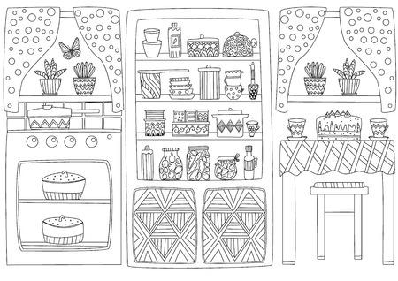 Przytulne wnętrze kuchni do kolorowania Ilustracje wektorowe