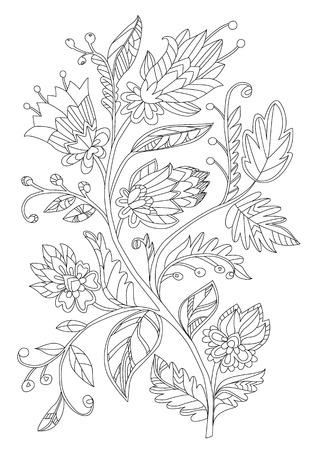 Árbol floral de fantasía para tu libro de colorear