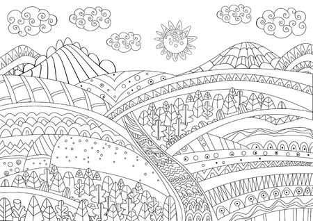 Paisaje de fantasía para tu página para colorear
