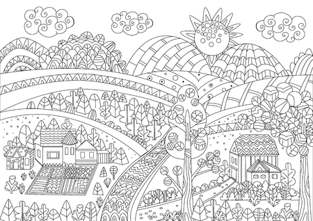 Upland panorama with funny houses and fields for your coloring page