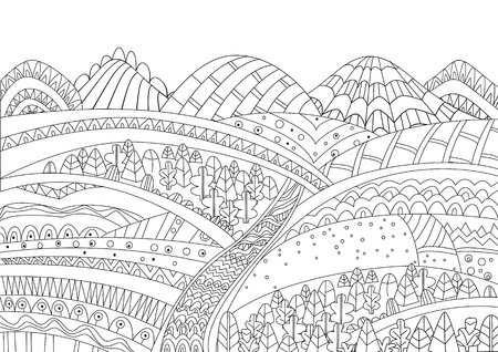 Cozy mountain landscape for your coloring page Illustration