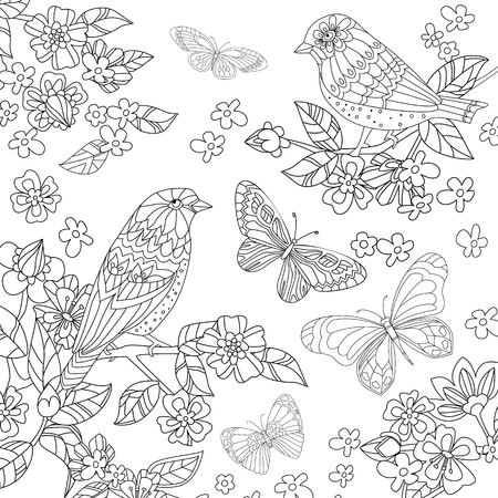Lovely birds on branch of flowering cherry in garden for your coloring book