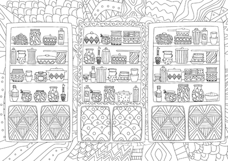 funny cupboards with tableware and jars of preserves for your coloring page