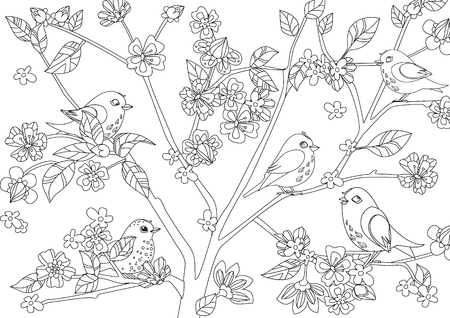 little birds on tree of blossom cherry for your coloring page 向量圖像
