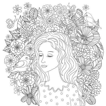 beautiful girl listening to birds. coloring page