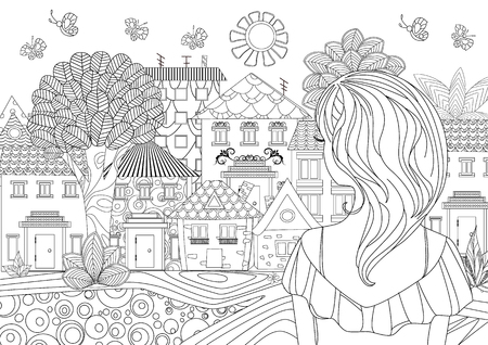pretty girl looking at cityscape. coloring page Archivio Fotografico - 121449360
