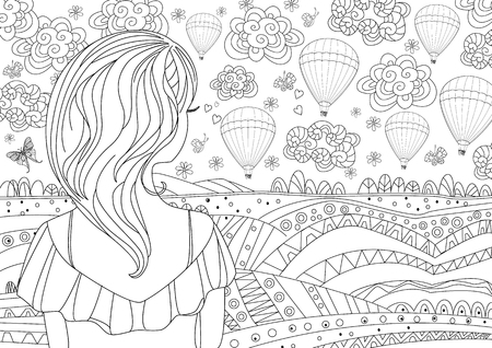 pretty girl looking at rustic landscape. coloring page